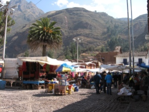 The main square in Pisac, Peru
