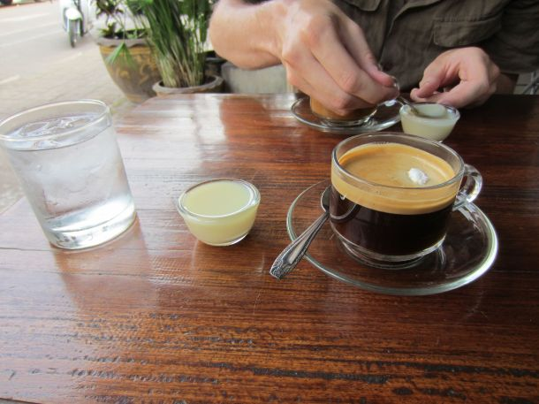 Pakse, Laos coffee with condensed milk