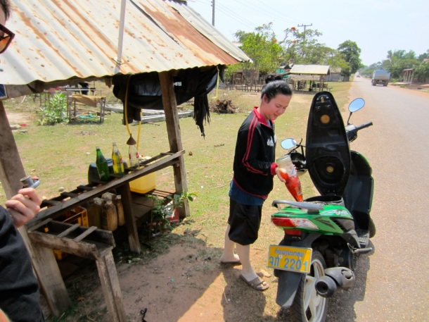 Laos gas station motorcycle