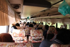 photo of the inside of a typical bus in Laos