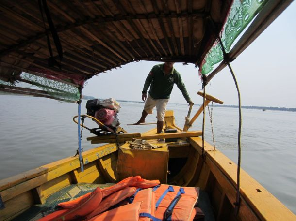 The boat to see irrawaddy dolphins