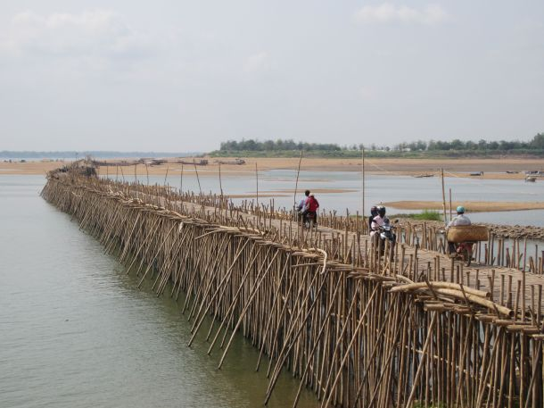 The bamboo bridge in Kampong Cham Cambodia