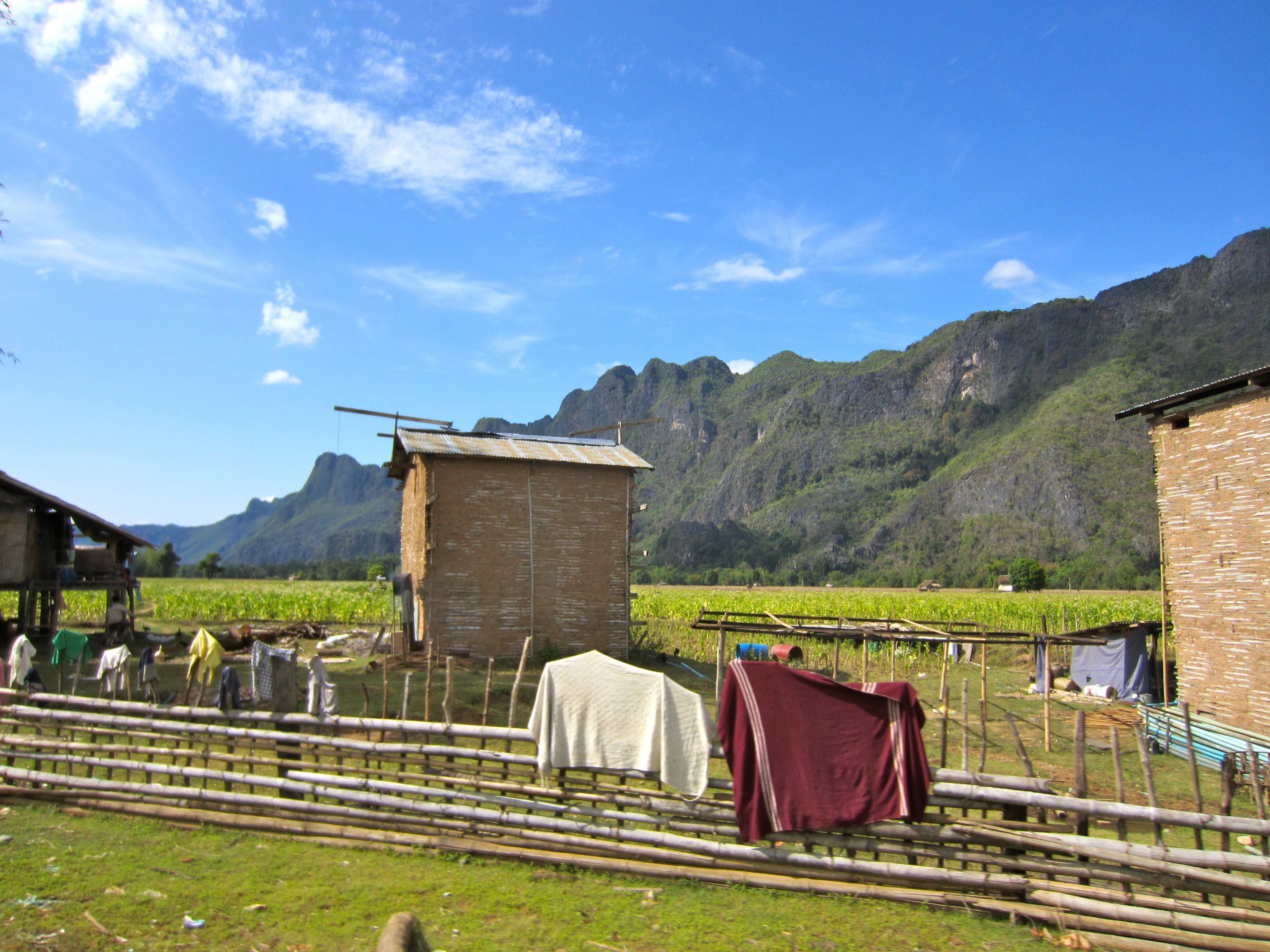 Laundry in front of mountain