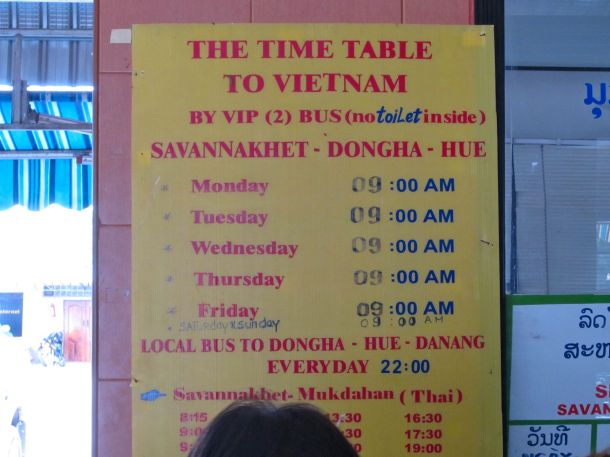 bus schedule for Savannakhet, Laos to Hue, Vietnam
