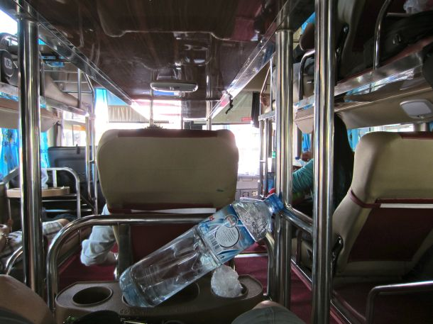 seat view sleeper bus in Laos Vietnam