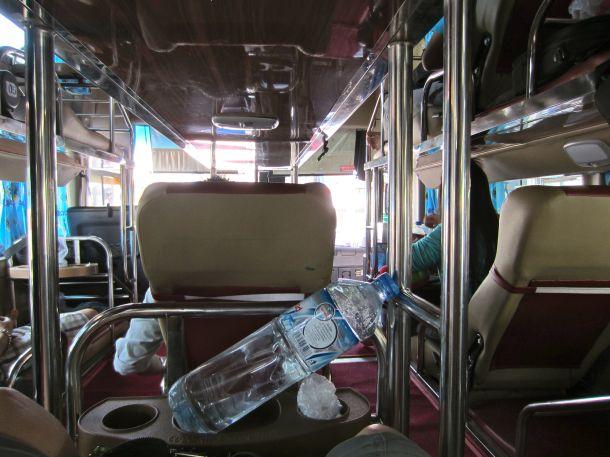 seat view sleeper bus in Laos Vietnam