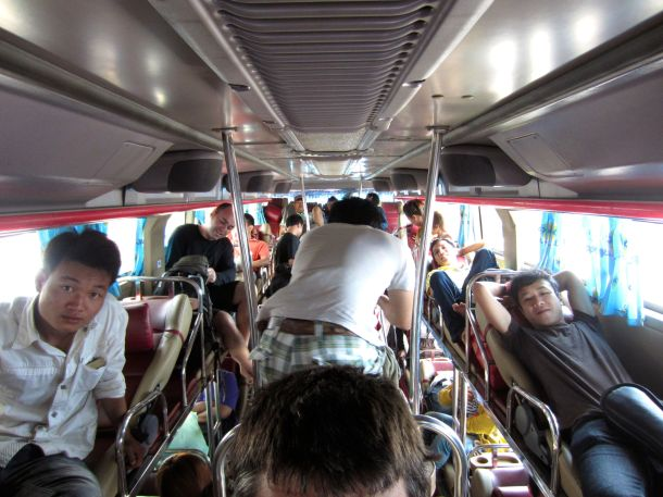 Top seat on Laos sleeper bus