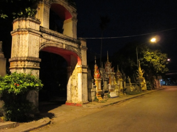 Savannakhet, Laos temple at night