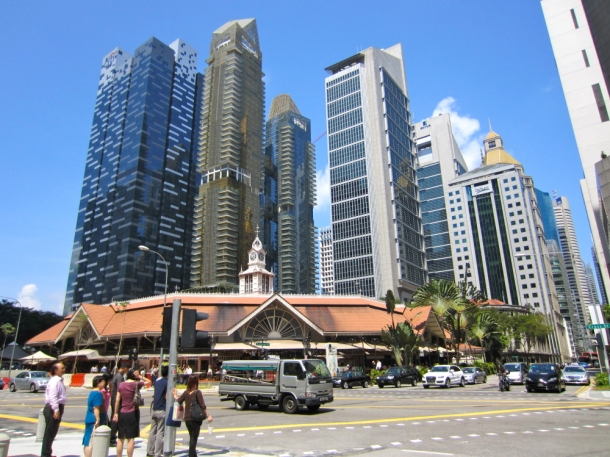 Singapore skyscrapers and food hawker centre