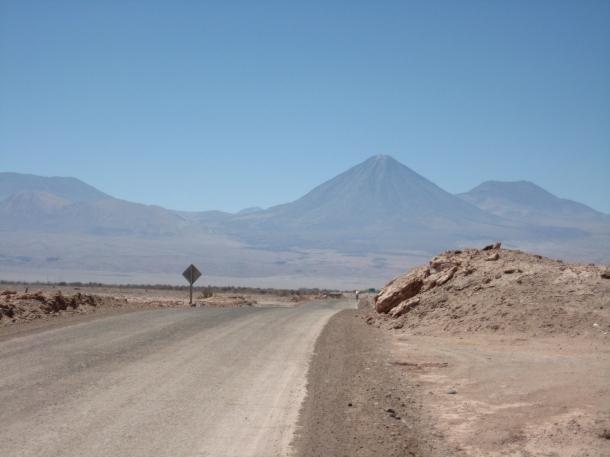 Volcanoes are the backdrop for Valle de la Luna.