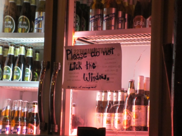 funny sign in Thai bar