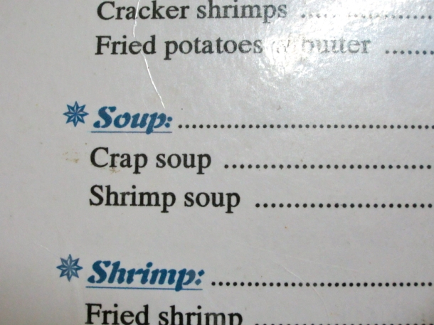 crap soup Vietnam menu