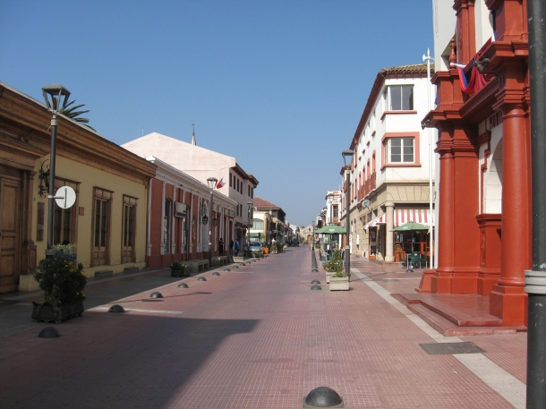 The deserted downtown streets of La Serena on a Sunday