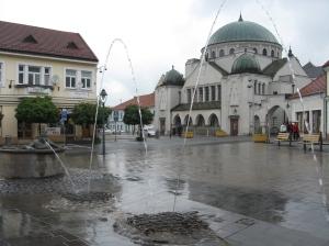 Trencin Slovakia synagogue rainy day
